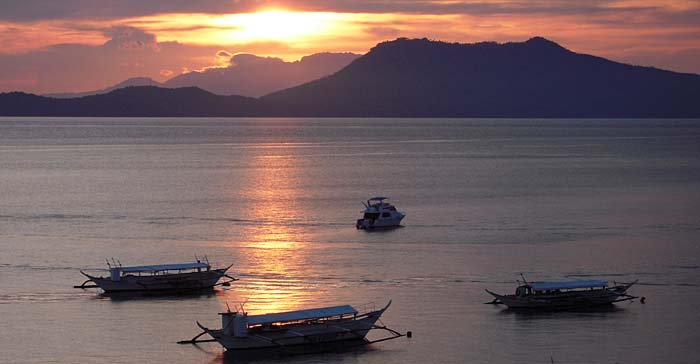 Sunset over Puerto Gallera Bay, Philippines