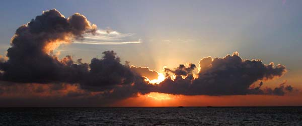 Sunset over the Indian Ocean in the Maldives - Maldives Report and Photos copyright Ken Knezick, Island Dreams